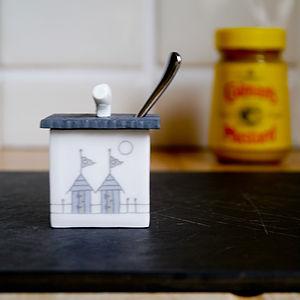 Beach Huts Ceramic Mustard Pot