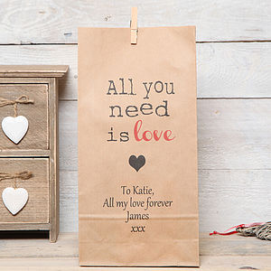 Personalised 'All You Need Is Love' Gift Bag - gift bags & boxes