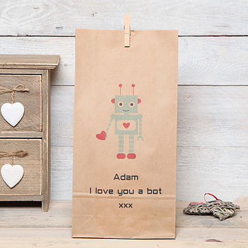 Personalised Robot Valentine Gift Bag