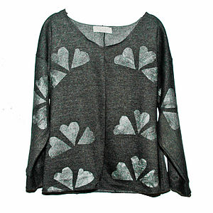 Charcoal And Silver Hearts Jumper - women's fashion