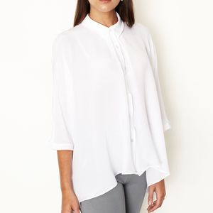 Silk Crepe De Chine Dolman Sleeve Shirt - maternity