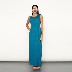 Twist Shoulder Maxi Dress - women's fashion