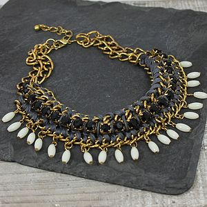 Weave And Black Bead Necklace - necklaces & pendants