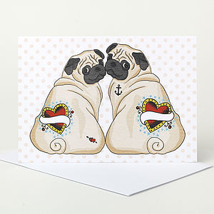 Customisable Pug Valentines Card - valentine's cards