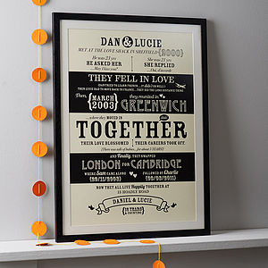 Personalised Couples 'Love Story' Print - anniversary gifts