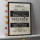 Personalised Couples 'Love Story' Print
