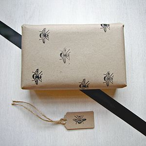 Hand Printed Bee Wrapping Paper