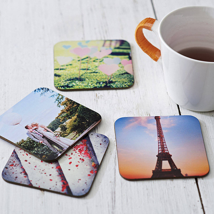 Set Of Four Personalised Drinks Coasters By Instajunction