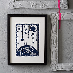 'Love You To The Moon' Papercut Or Print
