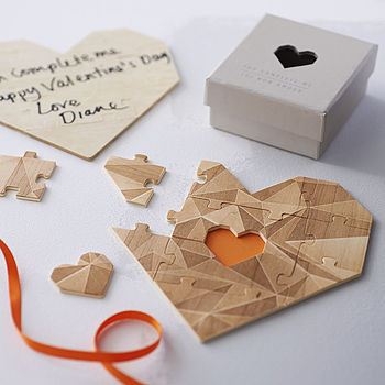 Wooden Heart Jigsaw Puzzle With Grey Box