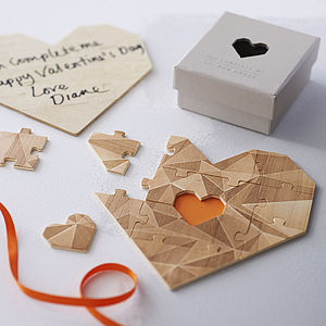 Wooden Heart Jigsaw Puzzle Grey - gifts for him