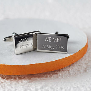 Personalised Coordinate Cufflinks - men's jewellery
