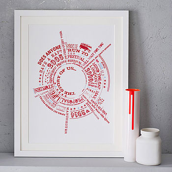 Red print, white frame