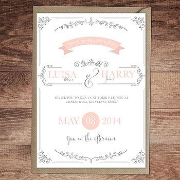 Vintage Flourish Wedding Invitation Version One