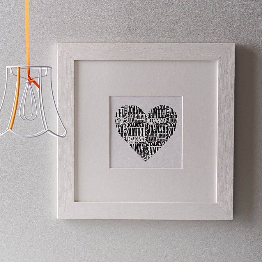 personalised names heart print by letterfest | notonthehighstreet.com