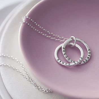 Personalised Interlinking Names necklace. sterling silver & black finish