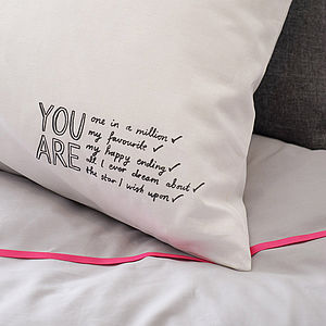 'You Are All I Ever Dream About' Pillowcase - bed, bath & table linen