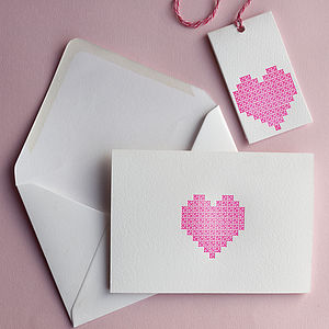 Neon Letterpress Heart Card And Tag