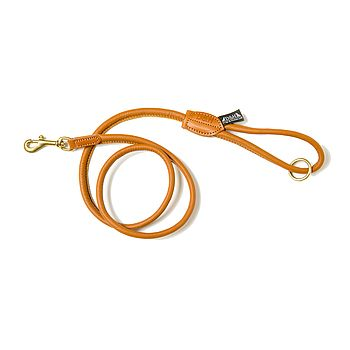 Rolled Leather Lead - Tan