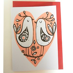 Two Birds Hand Printed Card