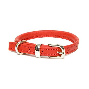 Rolled Leather Collar - Red