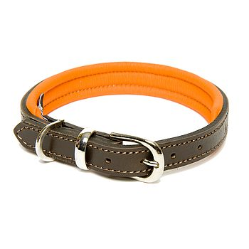 Colours Leather Collar - Brown & Orange
