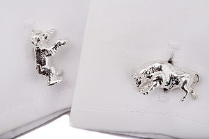 Sterling Silver Bull And Bear Cufflinks - cufflinks