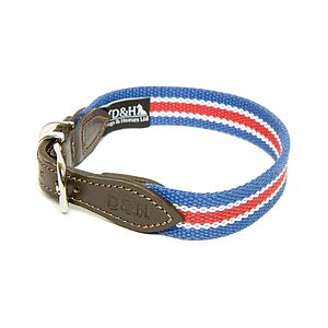 Wide Striped Cotton Webbing Collar - dog collars