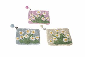 Handmade Felt Shooting Daisies Purse