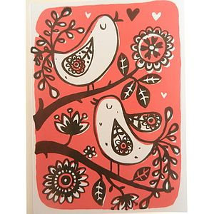 Birds On Branch Hand Printed Card