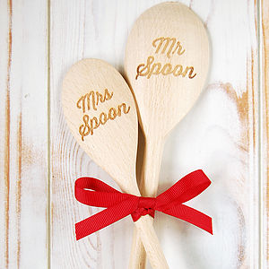Mr And Mrs Wooden Spoon Set