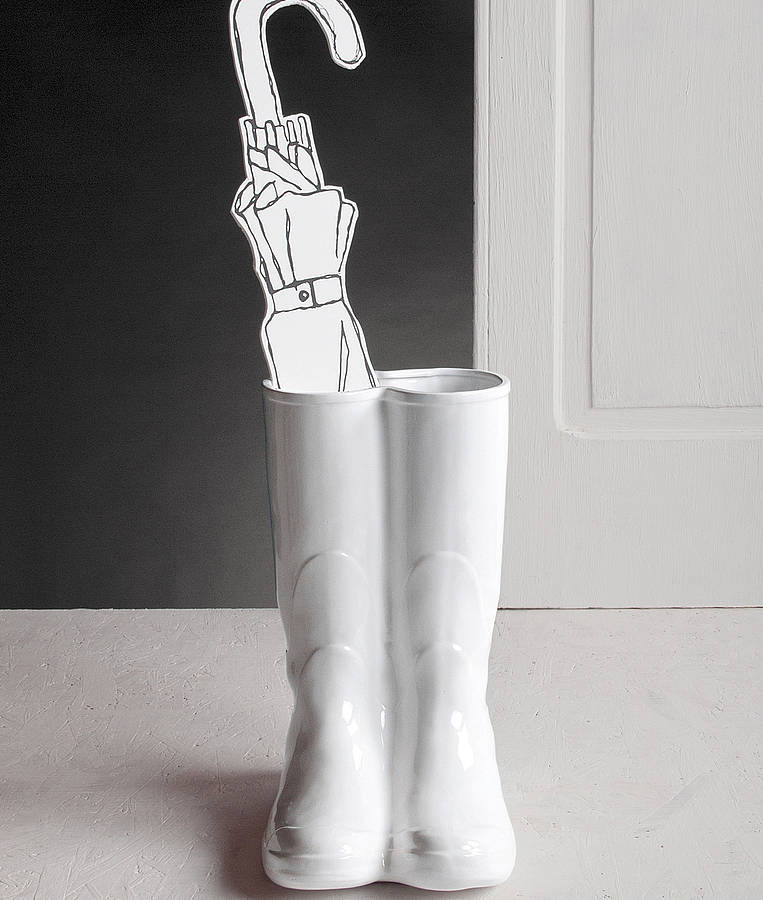 wellington boots porcelain umbrella stand by thelittleboysroom. Black Bedroom Furniture Sets. Home Design Ideas