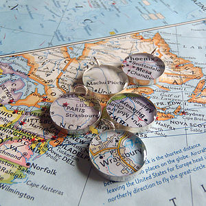 Personalised Location Map Silver Charm