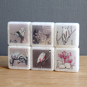 Birdy Mini Marble Fridge Magnets - wedding favours