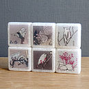 Birdy Marble Fridge Magnets