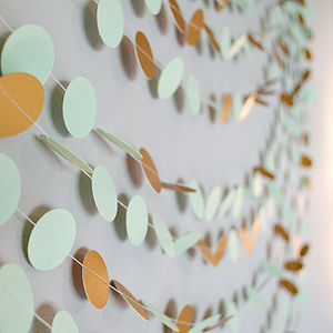 Mint And Shimmer Gold Paper Garland - pretty pastels