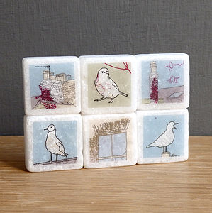 Seaside Mini Marble Fridge Magnets - unusual favours