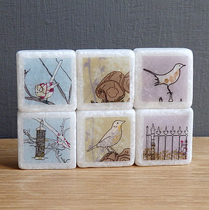 British Bird Marble Magnets - wedding favours