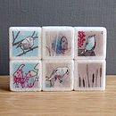 Woodland Bird Mini Marble Magnets