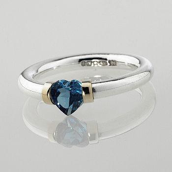 I Love You Heart Shaped Gemstone Ring