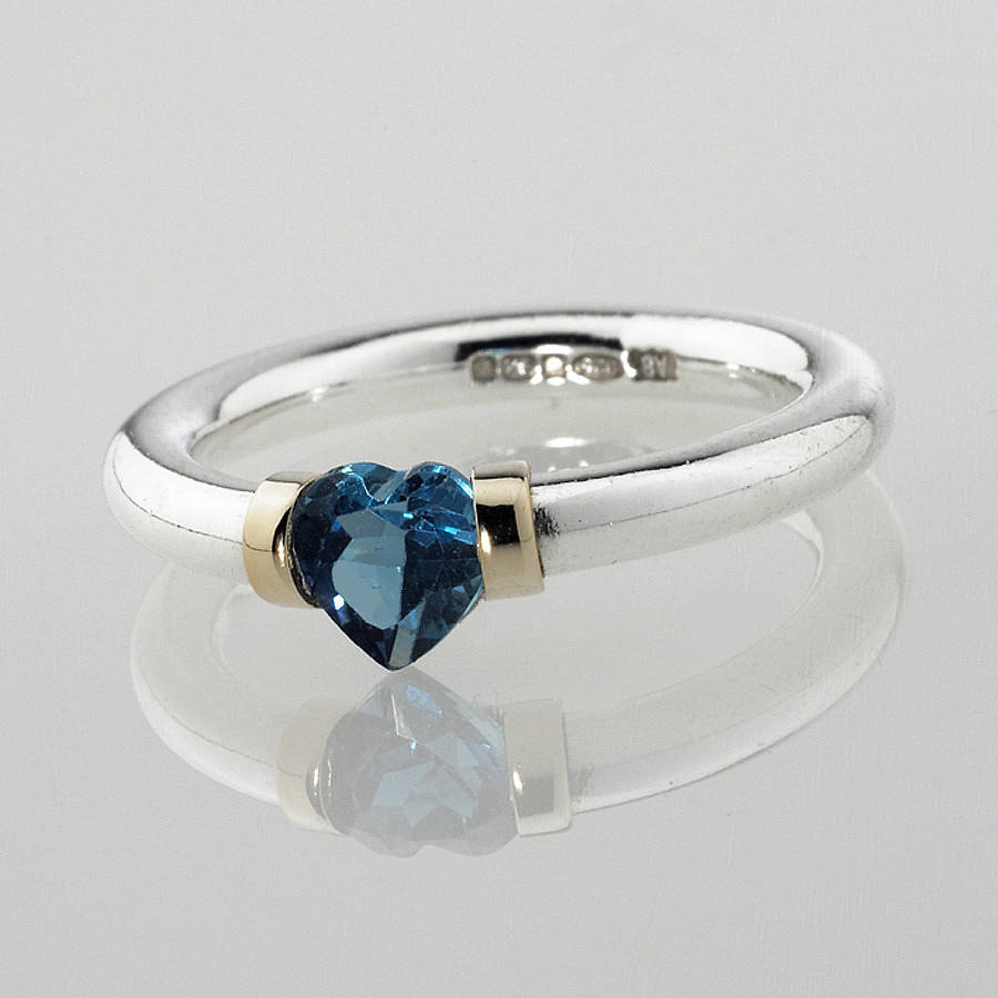 Heart Shaped Blue Topaz Engagement Ring