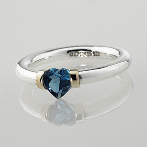 I Love You Heart Shaped Gemstone Ring - birthstone jewellery gifts