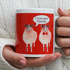 Personalised 'I Love Ewe' Sheep Mug - tableware