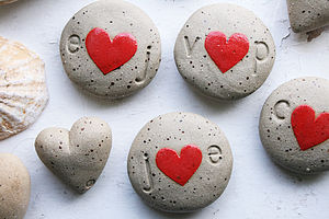 Personalised Initials Ceramic Heart Pebble - heart favours