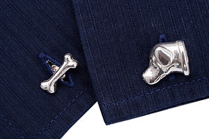 Solid Sterling Silver Labrador And Bone Cufflinks - men's accessories