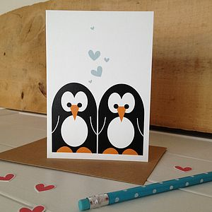 Mr And Mrs Penguin Wedding Or Anniversary Card - personalised