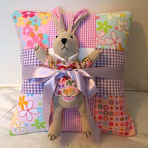 Bright Name Cushion And Toy Rabbit Gift Set - soft toys & dolls