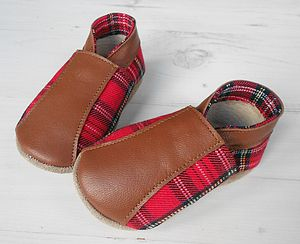 Personalised Tartan Baby Shoes