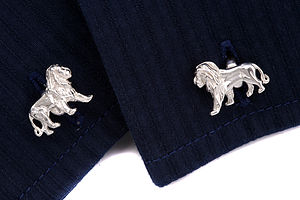 Sterling Silver Lion Cufflinks - gifts £75 and over