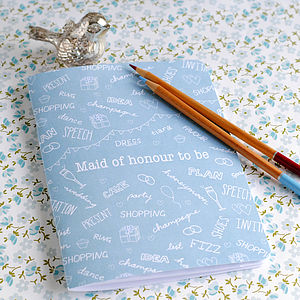 Maid Of Honour Notebook - wedding day tokens